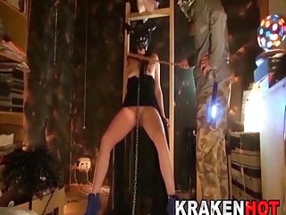 Hot Brunette With Strange Mask Is Fucked And Caned At Home