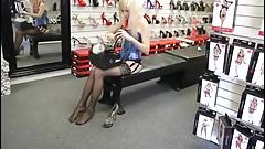 Teeny Girl in Corset, Stockings and High Heels,