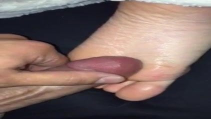 Another cumshot on my sexy girlfriends feet