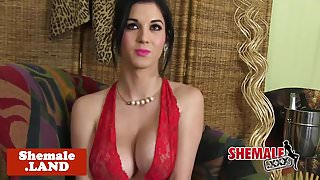 Busty cuban tgirl in lingerie strips n tease