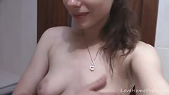 Babe with big natural tits teases while showering
