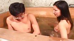 Ran Asakawa with hot jugs gives blowjob and is fingered