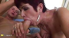 European mature mom getting a creampie
