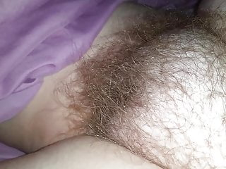 fingering her clit & rub her soft hairy pussy mound