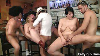 Wild plumper gangbang in the fat club
