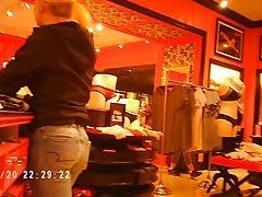 Blonde bubble butt in Victorias Secret