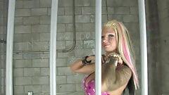 Naughty blonde prisoner fucks a horny stud in jail