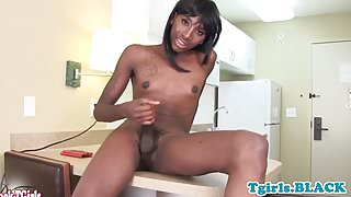 Black amateur tgirl spreads ass and jerksoff