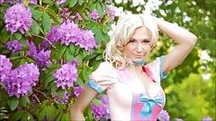 Susan Wayland in cream & pink latex dress