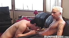 Old guys and amateur youngsters have a dick sucking party