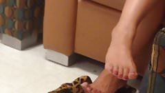Candid Asian Sexy Feet & Legs Painted Toes