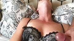 Horny milf plays with vibe for cuck hubby