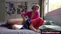 Lesbian girls with hairy cunts fuck at home