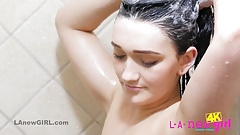 Pretty brunette takes erotic Shower in 4K