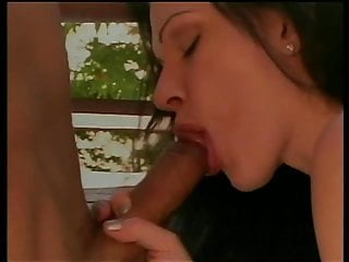 Brunette porn girl gets her mouth and pussy filled up by big dick on the floor