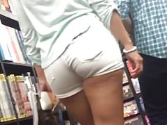 Amazing Ass in Tight White Shorts