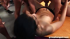 Latina and Blonde Fucked in GroupBang Party