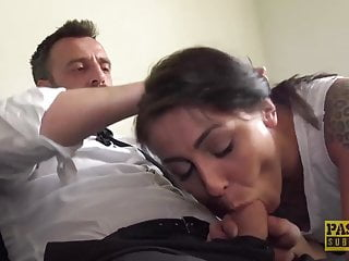 Inked whore Nayomi Sharp dommed before getting cum in mouth