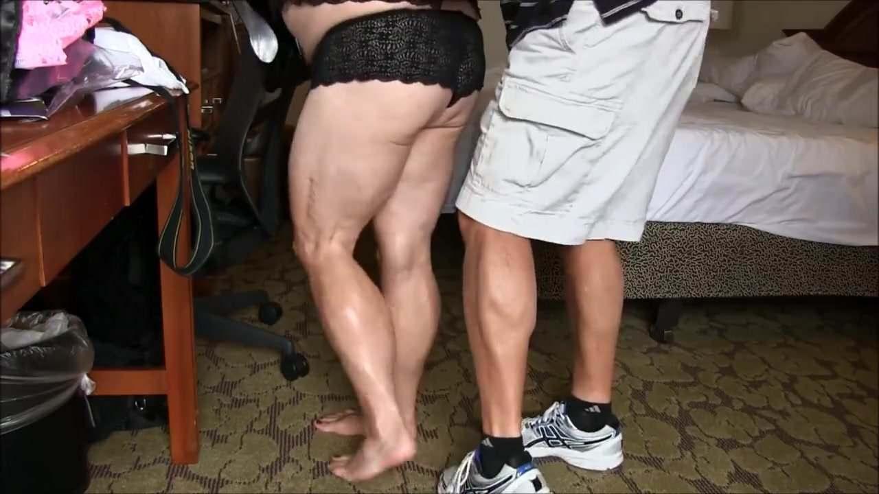 Chubby men with muscular calves