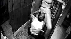 Slut wife cums in store room.