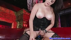 Glamours Busty lesbians fucking with strap on
