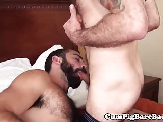 Preview 2 of Hairy wolf barebacked in threeway