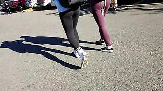 college girl candid leggings