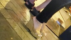 Candid hot milf with wedges mules