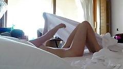 Unaware Post Creampie Cleanup Brunette Hidden Cam in Hotel