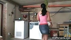 Hot nubile fucked in a basement