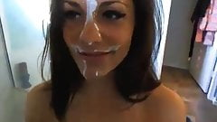 Hottie With Cum Facial Rubs Pussy on Webcam