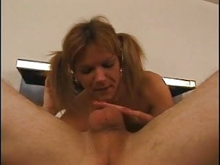 Slut gags on cock and gets her ass fucked in bed