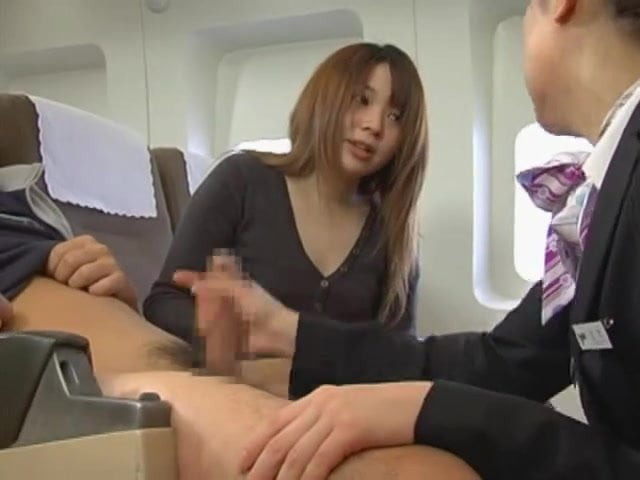 Japanese Flight Attendant Porn - Japanese stewardess handjob - censored