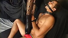Tranny with a nice rack giving a guy a foot job