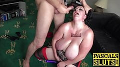 Brunette british slut Curvy Gal gets rough sex from Pascal