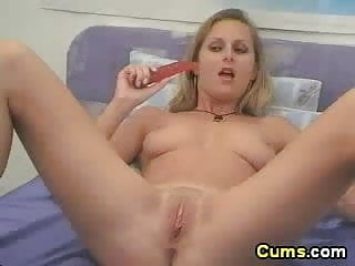 British blond sucking and fucking with a dildo