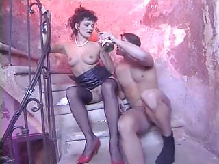 Mature in black stockings fucking with young lad