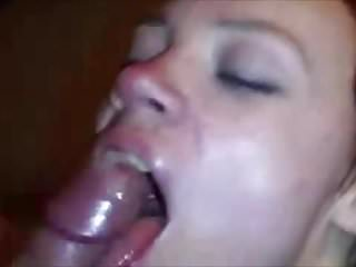 Hot wife double blowjob and swallows cum