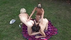 Hot Lesbian Threesome Outdoors