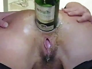 Amateur anal fistingwine bottle insertion