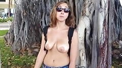 woman nude in public with saggy tits