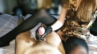 Gloved Handjob with cumshot on glove