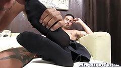 Gorgeous businessman receives a sensational feet licking