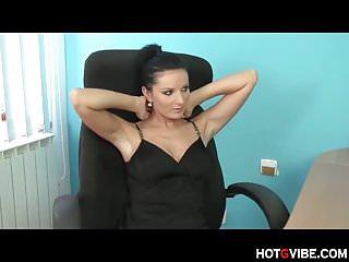 Skank fingers herself in office chair