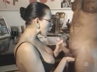 He just cum over my big tits