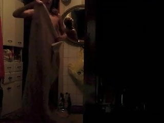 Skinny chick getting out of the shower ready to fuck