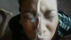 Cum on ebony face