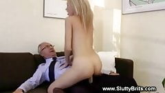 Blonde babe throat and pussy fucked by old guy