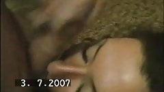 Russian girl sucking and taking a facial
