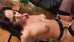 British slut gets anal in the office.